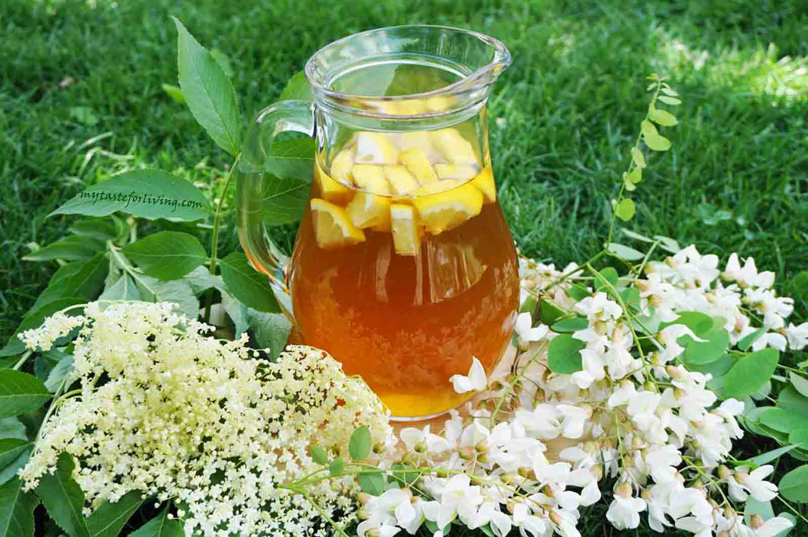 Refreshing drink of white elderflower and acacia flowers, prepared according to an easy recipe, without boiling.