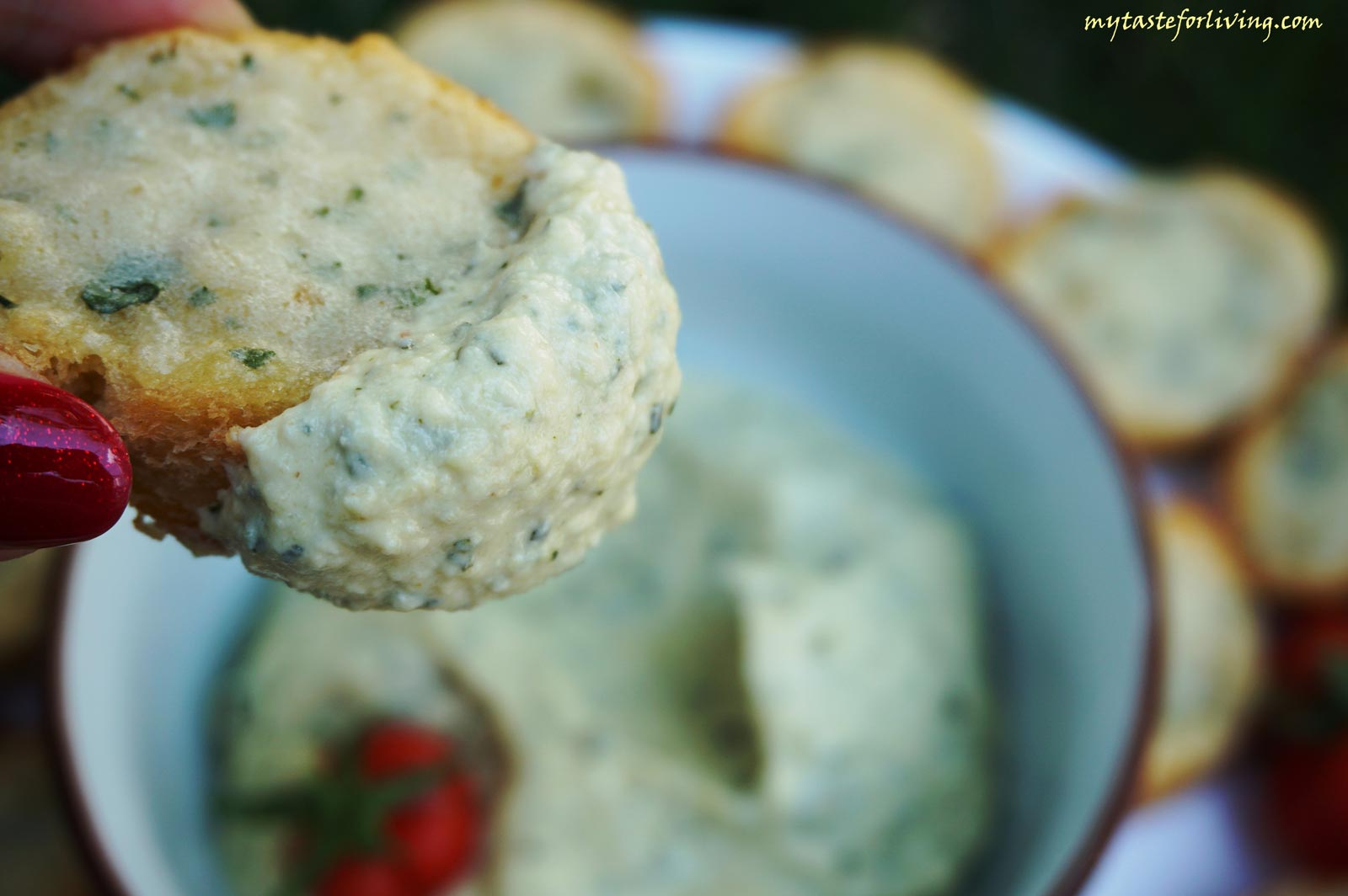 Appetizing dip made from roasted zucchini, tahini, sour cream, garlic and olive oil.