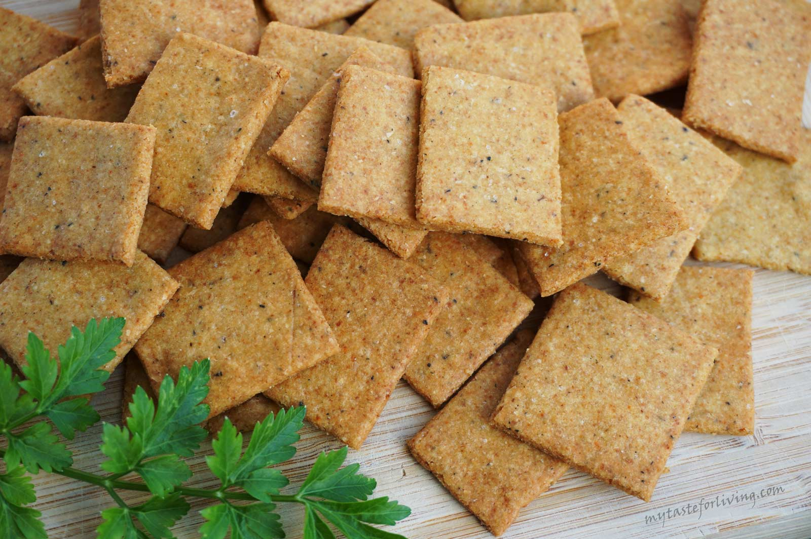 Quick, delicious and crispy crackers made of chickpea flour, which we adore at home. You can add savory, basil or parsley for a stronger flavor. The thinner you roll them, the crispier and tastier they turn out!
