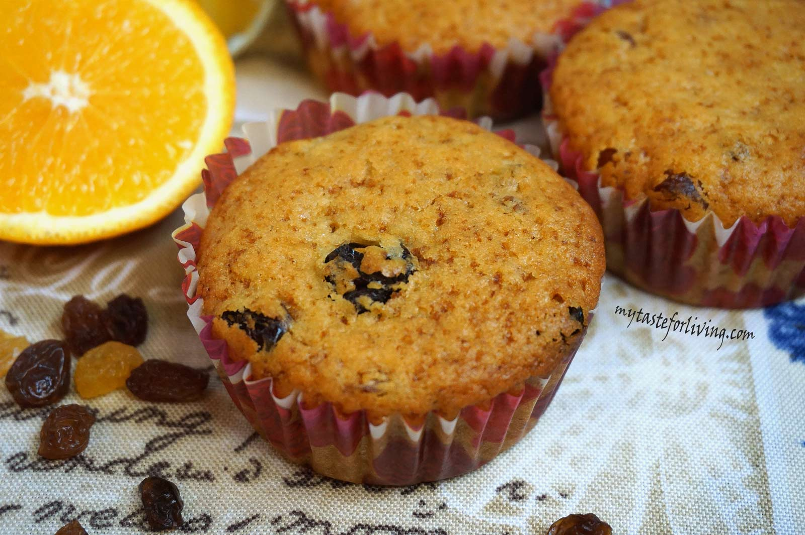 Delicious orange muffins with raisins, which are prepared easily and quickly without eggs and dairy products.