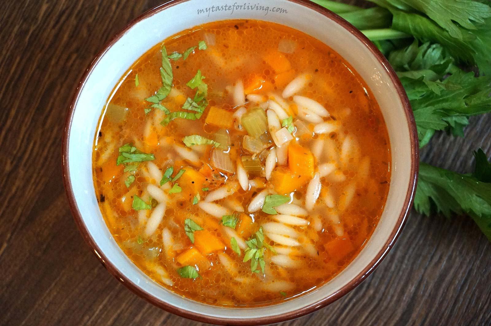 This fragrant vegetable soup with orzo is a tasty and easy proposal to diversify your standard menu. It is prepared with orzo, onions, carrots, celery, garlic and tomatoes.