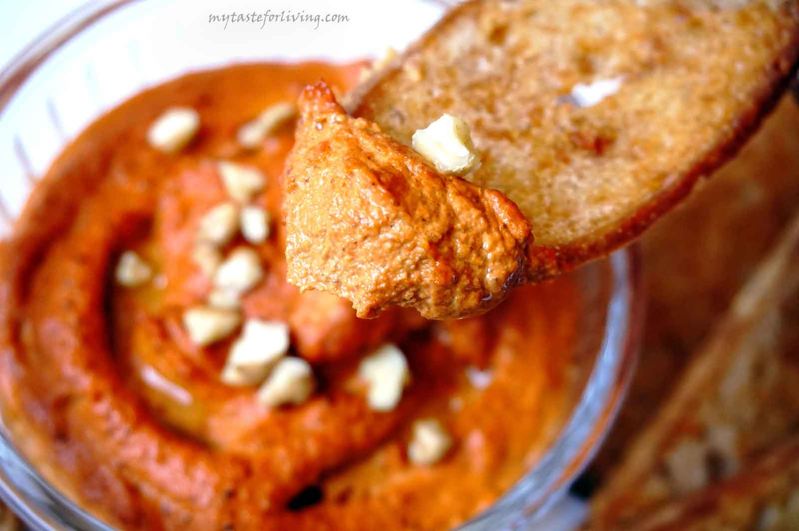 Extremely easy to make and delicious vegan dip of roasted red peppers and walnuts.