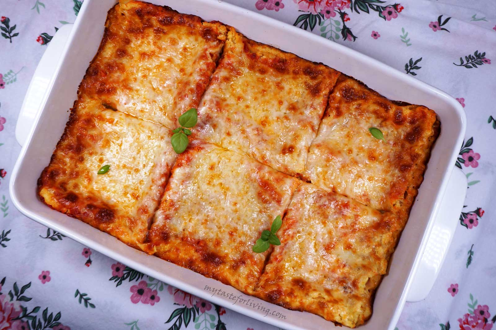 I love lasagna! And by preparing it in this way I managed to impress the children at home! For the preparation of the lasagna I use home made tomato sauce with basil, stewed zucchini, carrots and onions with parmesan and ricotta, lasagna noodles and grated mozzarella or yellow cheese.
